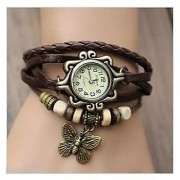 Bhavyam Fashion NEW Vintage star Watches For Women Genuine Leather Watch Bracelet Wrist Watch Brown Star KB441 (BROWN DORI )