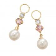 18K ピンクトルマリン&淡水パール チャーム【QVC】40代・50代レディースファッション