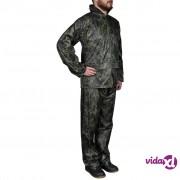 vidaXL Kišno muško odijelo s kapuljačom, Veličina XL, Boja kamuflaže