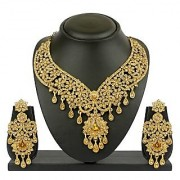 VK Jewels Delight Drops Gold Plated Necklace with Earrings- NKZ 1050G [VKNKZ1050G]