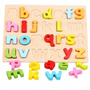 FunBlast Wooden Alphabet and Number Puzzles Toys for Children, Montessori Digital Board Educational Learning Letters Puzzle Toy (Small Letters)