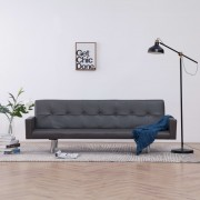 vidaXL Разтегателен диван с подлакътници, сив, изкуствена кожа