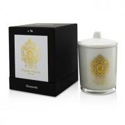 Glass Candle with Gold Decoration & Wooden Wick - Spicy Snow (White Glass) 170g/6oz Lumânare Sticlă cu Decorațiune Aurie și Fitil din Lemn - Spicy Snow (Sticlă Albă)