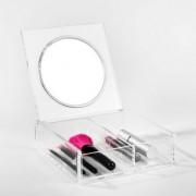 Cutie transparenta cosmetice cu oglinda