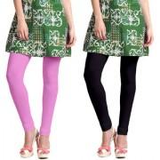Jakqo Women's Cotton Plain Long Length Legging (Free Size Pack of 2 Baby Pink Black)