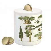 Tree Coin Box Bank by Ambesonne, Hand Drawn Trees Pine Olive Cypress and Fir Tree Forest Growth Ecology Outdoors, Printed Ceramic Coin Bank Money Box for Cash Saving, Pale Brown Green