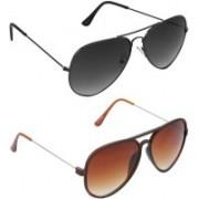Hrinkar Aviator Sunglasses(Grey, Brown)