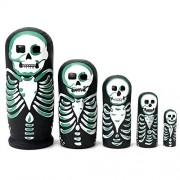 Jeteven 5Pcs Nesting Dolls Matryoshka Russian Stacking Dolls Wooden Nested Set Skull Handmade Painted Toys for Children Kids
