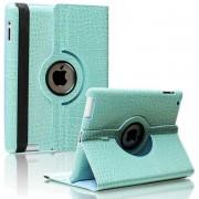 iPad Mini 1 / 2 / 3 - 360 Graden draaibare Hoes - krokodillen / Crocodile Lederen - Licht Blauw