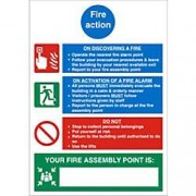 Unbranded Fire Sign Fire Action Plastic 30 x 20 cm