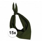 Kariban 15x Bandana zakdoeken olijf groen