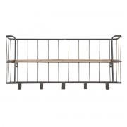 Perchero de pared metal gris y madera 85cm MANUFACTURE - Miliboo