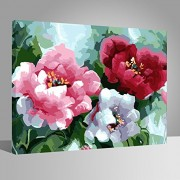 with wood frame, Flower-138: Wood Frame, Paint by Numbers DIY Oil Painting Oriental Flowers Canvas Print Wall Art Home Decoration by Rihe