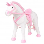 vidaXL Standing Plush Toy Unicorn White and Pink XXL