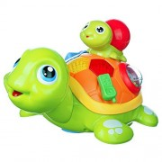 Coolecool Parent-child Turtle Baby Toys 6 Months Baby Electronic Educational Learning Crawling Musical Light Up Animal Toys (Multicolor)