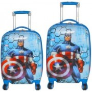 Texas USA set of 2 bags 18 inches and 22 inches CAPTAIN AMERICA Printed Polycarbonate 4 wheel Kids Trolley Bag Expandable Cabin Luggage - 22 inch(Blue)