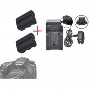 2pcs NP-FM500H Batería 1500mAh + Cargador Para Sony Alpha SLT A57 A58 A65 A77 A99 A100 A200 - Negro