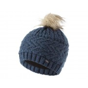 Women's Radiance II Fleece Lined Faux Fur Bobble Knit Beanie Dark Denim