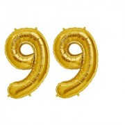 De-Ultimate Solid Golden Color 2 Digit Number (99) 3d Foil Balloon for Birthday Celebration Anniversary Parties