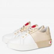 Moschino Sneakers Donna in Pelle Bicolor Bianco e Oro