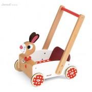 JANOD Drewniany pchacz dla dzieci - edukacyjny wózek Szalony królik, chodzik,