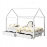 [en.casa]® Kiságy fenyőfa gyermekágy tárolófiókkal 200 x 90 cm sátortetős kialakítás fenyőfa / matt fehér