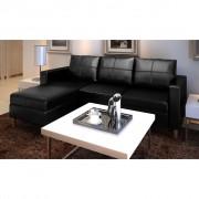 vidaXL Триместен L-образен диван, изкуствена кожа, черен