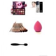 Hudaa Eyeshadow Palette with oval brush blender set of 12 brushes and primer