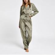 River Island Womens Khaki jacquard pyjama boiler jumpsuit (12)