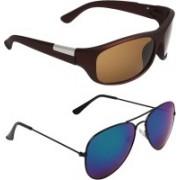 Abner Wrap-around, Aviator Sunglasses(Brown, Blue)
