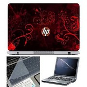 FineArts Laptop Skin HP Orange Wallpaper With Screen Guard and Key Protector - Size 15.6 inch
