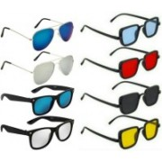 LENS LIBRARY Rectangular, Wayfarer, Aviator Sunglasses(Red, Green, Yellow, Silver)