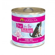Weruva Dogs in the Kitchen Fowl Ball with Chicken Breast & Turkey Au Jus Grain-Free Canned Dog Food, 10-oz can, case of 12