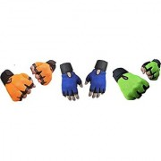 CP Bigbasket Pack of three (3) Netted with Wrist Support Gym Fitness Gloves (Free Size) Orange-Blue-green