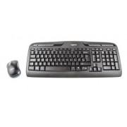 Logitech Juego de teclado y ratón Logitech 920-003986, Negro (teclado), negro/gris (ratón), Inalámbrico, QWER
