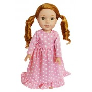 My Brittany's Pink Star Nightgown for 14.5 Inch American Girl Dolls Wellie Wisher Dolls- Doll Clothes for 14 Inch Wellie Wisher Dolls