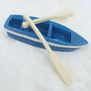 Vintage Fishing Boat with Oars Aquarium Terrariums Miniature Garden Fairy Gardens Doll House Cake To