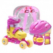 Set role reglabile pentru copii cu pozitionarea multipla a rotilor - Roz