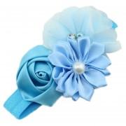 ELENXS del pelo del bebé niña de las flores Banda Perla Headwear para 3-36 Meses elástico magnífico suave práctica recién nacido azul