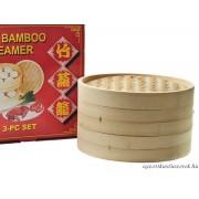 Bambusz gőzölő, 30 cm-es, 3 részes szett