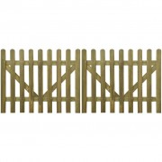 vidaXL Poartă din scânduri de lemn tratat, 2 buc, 300 x 120 cm