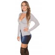 Cosmoda Collection Sexy pullover met strass steentjes en choker kraag grijs