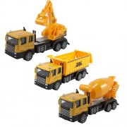 Electrobot Construction Die Cast Metal Alloy Car Models Mini Play Vehicles Truck Cars Toy for Kids Toddlers Boys Yellow Set Of 3