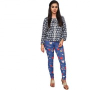 Anoma Polyester Fabric Artistic Print Blue Colour M-L-XL-2XL-3XL & Free Size Leggings (Fits in All Sizes) Leggings For Women's & Girls