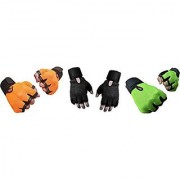 CP Bigbasket Pack of three (3) Netted with Wrist Support Gym Fitness Gloves (Free Size) orange-black-green