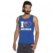 Bellatio Decorations I love Australie supporter mouwloos shirt blauw heren 2XL - Feestshirts