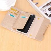 Para IPhone X El Polvo Del Brillo Escarchado Hombro Bolsa Horizontal Funda De Cuero Flip Cover Con Ranuras De Tarjeta (oro Rosa)