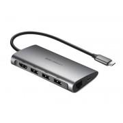 Adapter HUB uGreen CM121 8w1 USB-C - HDMI / 3xUSB 3.0 / LAN / SD Szary