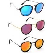 TheWhoop Round Sunglasses(Green, Violet, Orange)