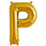 Stylewell 16 Inch Alphabet (P) Soild (Golden) Color 3D Foil Balloons For Birthday And Anniversary Parties Decoration